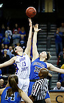 SIOUX FALLS MARCH 23:  Kellyn Schneider #13 from Lubbock Christian jumps center with Victoria Lux #32 from Bentley University during their 2016 NCAA Women's DII Elite 8 Basketball Championship semifinal Wednesday night at the Sanford Pentagon in Sioux Falls, S.D. (Photo by Dick Carlson/Inertia)