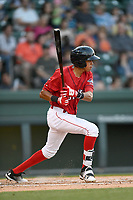 Shortstop Ricardo Cubillan (40) of the Greenville Drive bats in a game against the Charleston RiverDogs on Friday, April 27, 2018, at Fluor Field at the West End in Greenville, South Carolina. Greenville won, 5-4. (Tom Priddy/Four Seam Images)