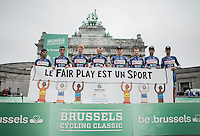 Team Wanty - Groupe Gobert enrolls a fairplay banner on the presentation podium to support the cause that pormotes fairplay to children<br /> <br /> Brussels Cycling Classic 2016