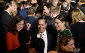 United States Department of Housing and Urban Development Secretary Julian Castro (C)  attends a reception for Hispanic Heritage Month in the East Room of the White House on October 12, 2016 in Washington, DC. <br /> Credit: Olivier Douliery / Pool via CNP