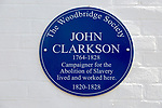 Blue plaque John Clarkson 1764-1828 campaigner for the abolition of slavery, Woodbridge, Suffolk, England, UK