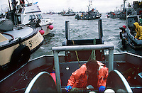 A deckhand on the back deck of his fishing vessel  ducks for cover as his boat gets slammed by others jockeying for space to make a set on the North Line of the Egegik River District in Bristol Bay, Alaska on July 7, 1993.  Bristol Bay is home to the world's largest sockeye salmon fishery managed by the Alaska Department of Fish & Game.  It is a sustainable fishery.  The commercial salmon drift gillnet fishing fleet is limited to boats no longer than 32 feet in length.  There were over 1,800 permanent entry permits listed in 2002 required by every boat.  Typically boats fish with two or three deckhands.  Peak of the season is around July 4th in this fishery which lasts about a month. The rivers also get a fair amount of chum, king, and chinook salmon.  Bristol Bay is located in the southwest part of Alaska.