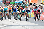 Riders cross the finish line of Stage 2 of the Criterium du Dauphine 2019, running 180km from Mauriac to Craponne-sur-Arzon, France. 9th June 2019<br /> Picture: Colin Flockton | Cyclefile<br /> All photos usage must carry mandatory copyright credit (© Cyclefile | Colin Flockton)