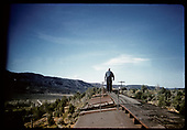 Trainmen walking on top freight cars (South of Durango)?<br /> D&amp;RGW  Durango area, CO