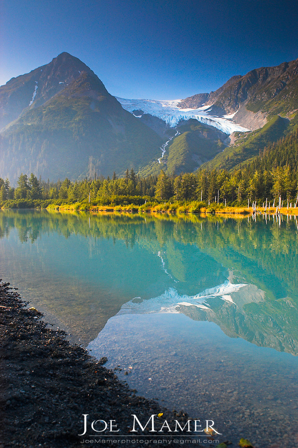 Explorer Glacier and wilderness lake near Portage, Alaska.
