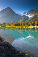 Explorer Glacier and wilderness lake near Portage, Alaska.