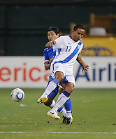 Guatemala forward Transito Montepeque (17) shields the ball against El Salvador defender Deris Umanzor (12)    The Guatemalan National Team defeated  El Salvador National Team 2-0 in a friendly international at RFK Stadium, Saturday September 7, 2010.