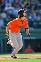 Right fielder Seth Harrison (2) of the Augusta GreenJackets bats in a game against the Greenville Drive on Sunday, June 12, 2016, at Fluor Field at the West End in Greenville, South Carolina. Greenville won, 11-8. (Tom Priddy/Four Seam Images)