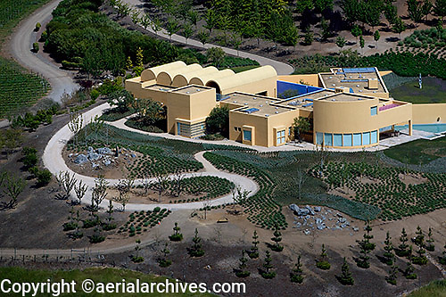 aerial photograph vineyard residence Petaluma, Sonoma county, California