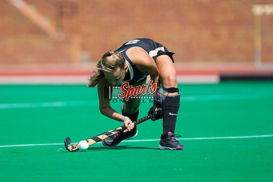 Jule Grashoff (24) of the Wake Forest Demon Deacons takes a shot on goal off a penalty corner during first half action against the Liberty Flames at Kentner Stadium on September 20, 2015 in Winston-Salem, North Carolina.  The Demon Deacons defeated the Flames 2-1.  (Brian Westerholt/Sports On Film)
