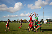 Zachary Smith and Ryan Stewart compete for the ball at a lineout during the Counties Manukau Premier 1 Club Rugby game between Karaka and Waiuku, played at the Karaka Sports Park on Saturday May 11th 2019. Karaka won the game 33 - 14 after leading 14 - 7 at halftime.<br /> Photo by Richard Spranger.