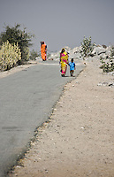 Colorful saris contrast with the stark, dry landscape of rural Rajasthan. (Photo by Matt Considine - Images of Asia Collection)