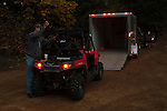 Hauling Polaris RZR side-by-side in an enclosed utility trailer while hunting