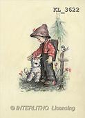 Interlitho, CHILDREN, nostalgic, paintings, boy, cat, bird(KL3622,#K#) Kinder, niños, nostalgisch, nostálgico, illustrations, pinturas