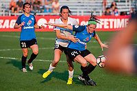 Kansas City, MO - Sunday September 3, 2017: Kelley O'Hara, Maegan Kelly during a regular season National Women's Soccer League (NWSL) match between FC Kansas City and Sky Blue FC at Children's Mercy Victory Field.