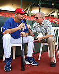 "5 September 2003: A native of Ponce, Puerto Rico, Expos ace starter Javier Vazquez is interviewed by long time Expos radio play-by-play announcer Dave Van Horne, now the voice of the Florida Marlins. The Expos played 22 of their ""home"" games in Puerto Rico as a revenue generating promotion, hosting 6 MLB clubs spanning 3 series at Hiram Bithorn Stadium in San Juan. Mandatory Credit: Ed Wolfstein Photo"