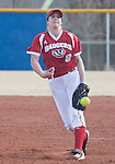 March 10, 2012:   Wisconsin Badgers pitcher Cassandra Darrah throws against the Nevada Wolf Pack during their NCAA softball game played as part of the The Wolf Pack Classic at Christina M. Hixson Softball Park on Saturday in Reno, Nevada.