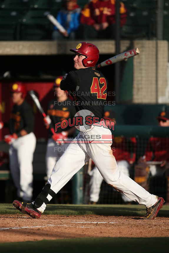 David Edson #42 of the Southern California Trojans bats against the Coppin State Eagles at Dedeaux Field on February 18, 2017 in Los Angeles, California. Southern California defeated Coppin State, 22-2. (Larry Goren/Four Seam Images)