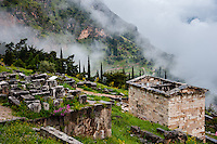 Delphi, Greece. In Greek mythology the site of the Delphic oracle. The Athenian Treasury.