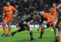 Damian McKenzie in action during the Super Rugby match between the Chiefs and Jaguares at Rotorua International Stadum in Rotorua, New Zealand on Friday, 4 May 2018. Photo: Dave Lintott / lintottphoto.co.nz