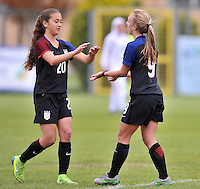 Monfalcone, Italy, April 26, 2016.<br /> USA's #9 Vatne (R) celebrating with #Yates (L) after scoring opening goal during USA v Iran football match at Gradisca Tournament of Nations (women's tournament). Monfalcone's stadium.<br /> &copy; ph Simone Ferraro / Isiphotos