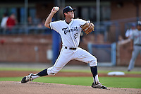 Asheville Tourists starting pitcher Zach Jemiola #27 delivers a pitch during during a game against the Greenville Drive at McCormick Field June 24, 2014 in Asheville, North Carolina. The Tourists defeated the Drive 5-4. (Tony Farlow/Four Seam Images)