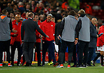 The Sevilla bench appears to square up to Jurgen Klopp manager of Liverpool at the end of the match during the Champions League Group E match at the Anfield Stadium, Liverpool. Picture date 13th September 2017. Picture credit should read: Simon Bellis/Sportimage