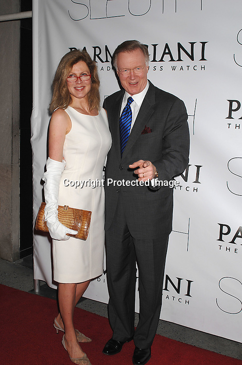 "Ellen and Chuck Scarborogh..arriving at The New York Premiere of ""Sleuth"" on ..October 2, 2007 at The Paris Theatre. The event was ..hosted bu Parmigiani Watch Company. ..Photo by Robin Platzer, Twin Images....212-935-0770"