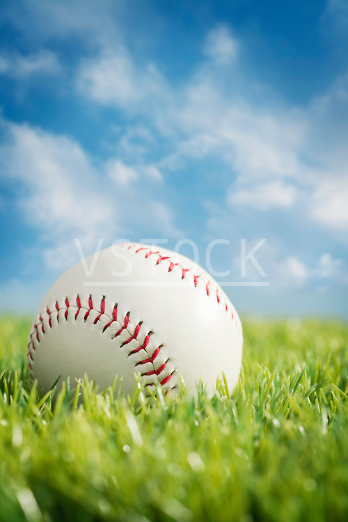 Baseball on grass against sky