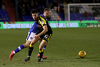 Oldham Athletic's Ryan McLaughlin (left) in action with (right) Rotherham United's Joe Newell (right) during the Sky Bet League 1 match between Oldham Athletic and Rotherham United at Boundary Park, Oldham, England on 13 January 2018. Photo by Juel Miah / PRiME Media Images.
