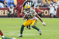 Landover, MD - September 23, 2018: Green Bay Packers wide receiver Randall Cobb (18) runs after making a catch during the  game between Green Bay Packers and Washington Redskins at FedEx Field in Landover, MD.   (Photo by Elliott Brown/Media Images International)