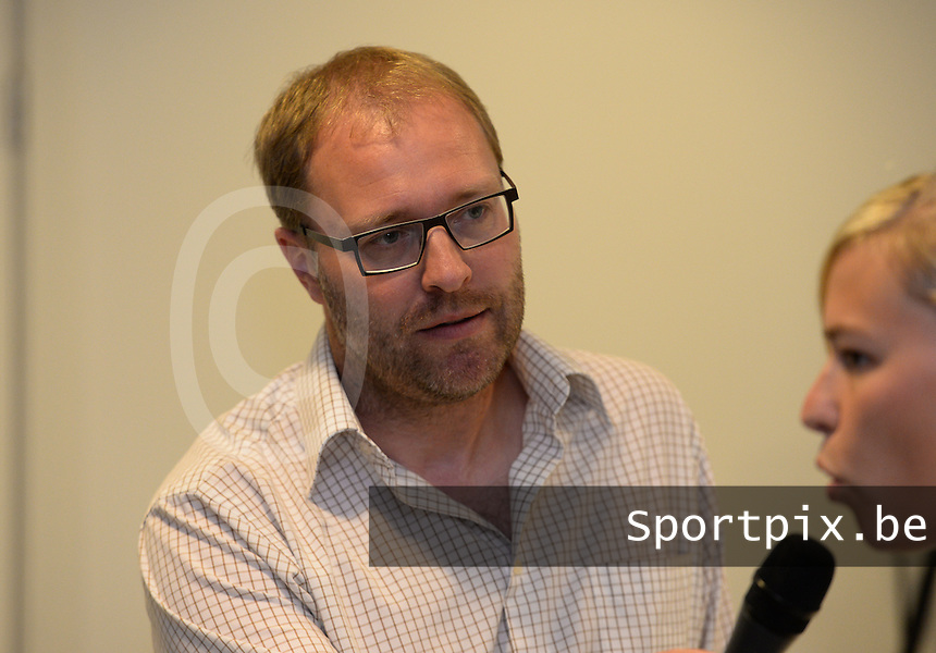 20150821 - GENT, BELGIUM: Gent's moderator Tom Boudeweel pictured during a press conference about the start of the new Super League season of the women's team KAA Gent Ladies , Friday 21 August 2015 , in Gent. PHOTO DAVID CATRY