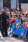 King Felipe VI and Infant Sofia of Spain during the arrival to Oviedo because of the Princess of Asturias Awards 2019 . October 17, 2019.. (ALTERPHOTOS/ Francis Gonzalez)