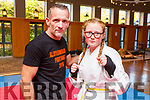 Martial arts student Elizabeth Burke with teacher Alan Guilfoyle before the start of the All Styles Marital Arts competition in the Ballyroe Heights Hotel on Saturday.