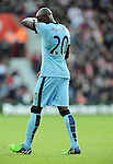 A Dejected Eliaquim Mangala of Manchester City after his 2nd yellow card from referee Mike Jones<br /> - Barclays Premier League - Southampton vs Manchester City - St Mary's Stadium - Southampton - England - 30th November 2014 - Pic Robin Parker/Sportimage