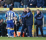 Kenny Shiels and Jimmy Nicholl after Pascali's red card as fourth official Andrew Dallas looks on