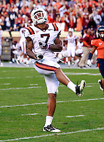 CHARLOTTESVILLE, VA- NOVEMBER 12: Wide receiver Marcus Davis #7 of the Virginia Tech Hokies reacts to a play during the game against the Virginia Cavaliers on November 28, 2011 at Scott Stadium in Charlottesville, Virginia. Virginia Tech defeated Virginia 38-0. (Photo by Andrew Shurtleff/Getty Images) *** Local Caption *** Marcus Davis
