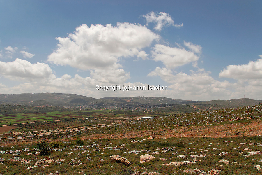 Samaria, Shiloh valley with palestinian village Turmus Ayya in the background