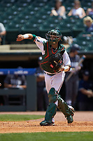 Joe Gomez (40) of the Miami Hurricanes on defense against the Georgia Tech Yellow Jackets during game one of the 2017 ACC Baseball Championship at Louisville Slugger Field on May 23, 2017 in Louisville, Kentucky. The Hurricanes walked-off the Yellow Jackets 6-5 in 13 innings. (Brian Westerholt/Four Seam Images)