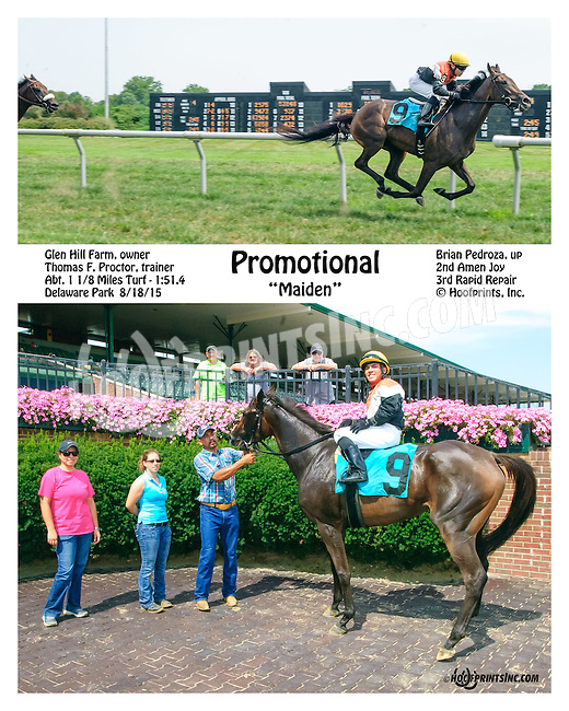 Promotional winning at Delaware Park on 8/18/15