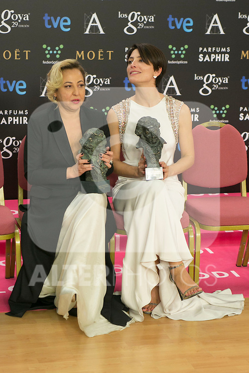 Barbara Lennie and Carmen Machi attend the 2015 Goya Award Winners Photocall at Auditorium Hotel, Madrid,  Spain. February 08, 2015.(ALTERPHOTOS/)Carlos Dafonte)