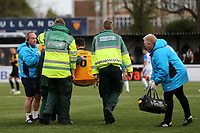 Aron Davies of Maidstone United is carried off on a stretcher after suffering a painful injury during Maidstone United vs Havant and Waterlooville, Vanarama National League Football at the Gallagher Stadium on 9th March 2019