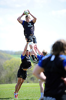 Tom Ellis of Bath Rugby wins the ball at a lineout. Bath Rugby training session on May 3, 2016 at Farleigh House in Bath, England. Photo by: Patrick Khachfe / Onside Images