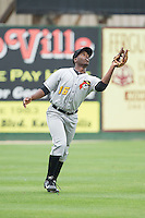 West Virginia Power left fielder Candon Myles (16) catches a fly ball during the game against the Kannapolis Intimidators at CMC-Northeast Stadium on April 29, 2014 in Kannapolis, North Carolina.  The Intimidators defeated the Power 1-0.  (Brian Westerholt/Four Seam Images)