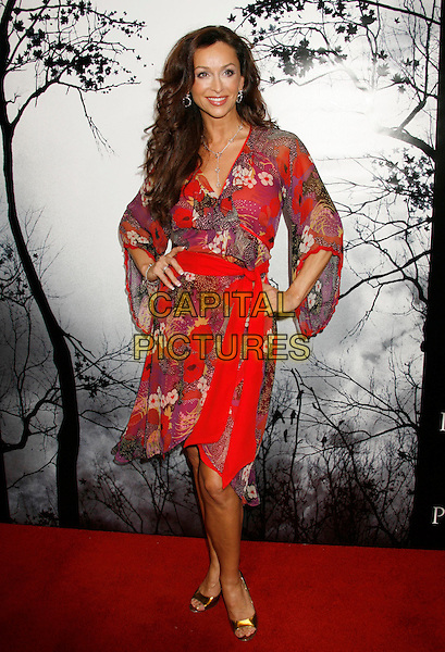 "SOFIA MILOS.""Premonition"" World Premiere held at the ArcLight Cinerama Dome Theatre, Hollywood, California, USA..March 12th, 2007.full length red pattern floral print dress hands on hips .CAP/ADM/RE.©Russ Elliot/AdMedia/Capital Pictures"