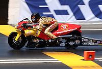 May 31, 2014; Englishtown, NJ, USA; NHRA pro stock motorcycle rider Michael Ray during qualifying for the Summernationals at Raceway Park. Mandatory Credit: Mark J. Rebilas-