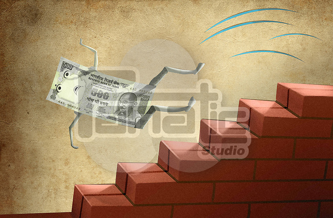 Indian five hundred Rupee note falling down from brick stairs