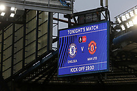 General view of the scoreboard showing tonight's teams during Chelsea vs Manchester United, Emirates FA Cup Football at Stamford Bridge on 18th February 2019