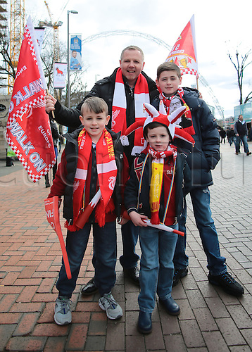 28.02.2016. Wembley Stadium, London, England. Capital One Cup Final. Manchester City versus Liverpool. Liverpool Fans, young and old, arrive at Wembley