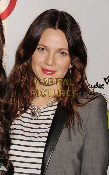 Drew Barrymore.The Opening of Kimberly Snyder's Glow Bio in West Hollywood in West Hollywood, California,.November 14th, 2012.portrait headshot lipstick pink make-up grey gray blazer jacket striped top brunette hair beauty necklace silver .CAP/ROT/TM.©Tony Michaels/Roth Stock/Capital Pictures